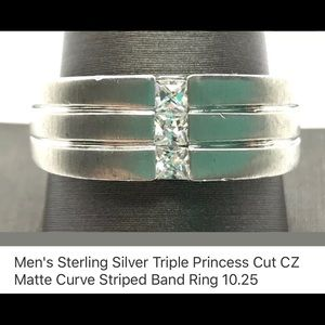 Men's sterling silver princess triple CZ band new